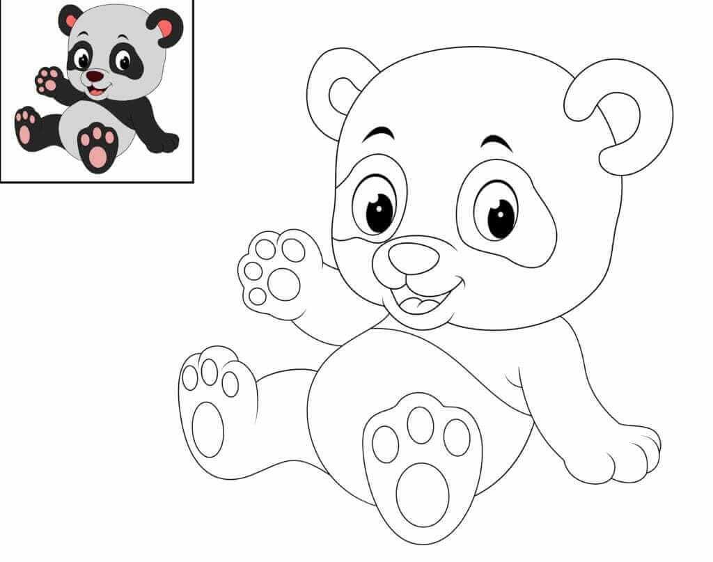 Omalovánka Panda mávající