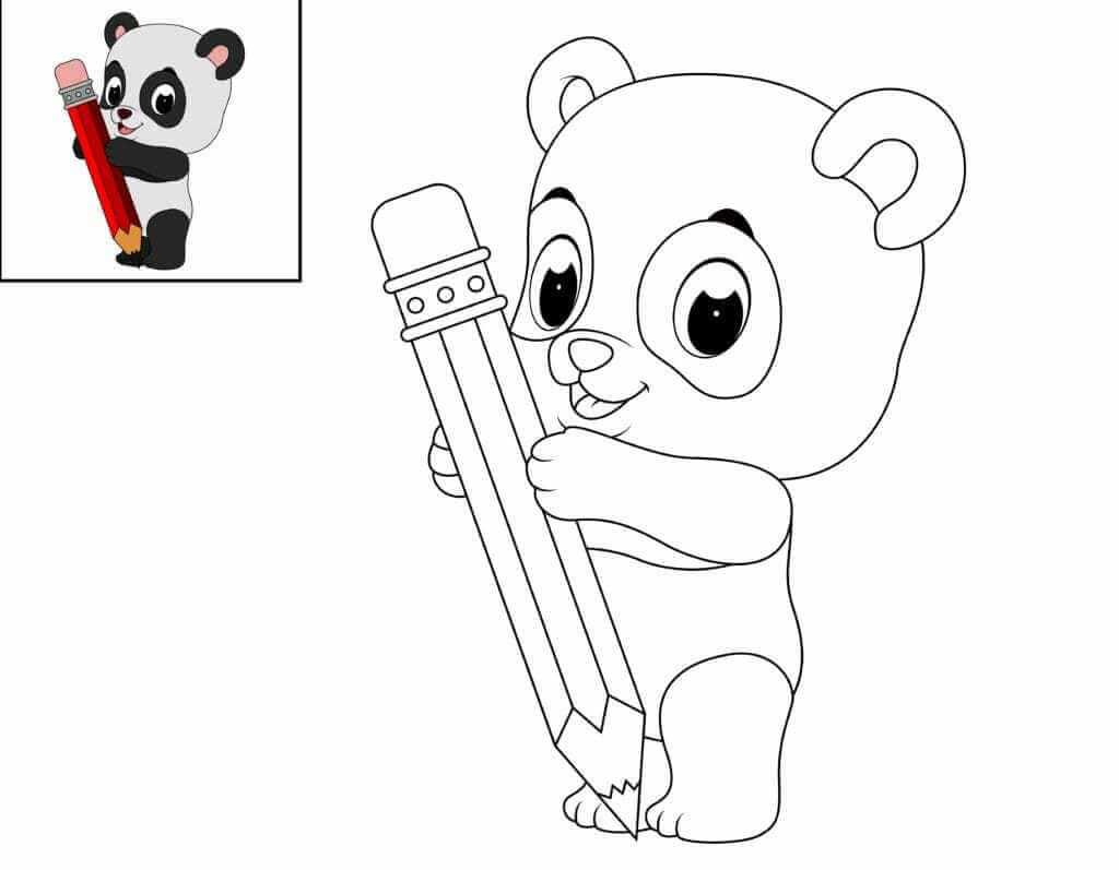 Omalovánka Panda s pastelkou
