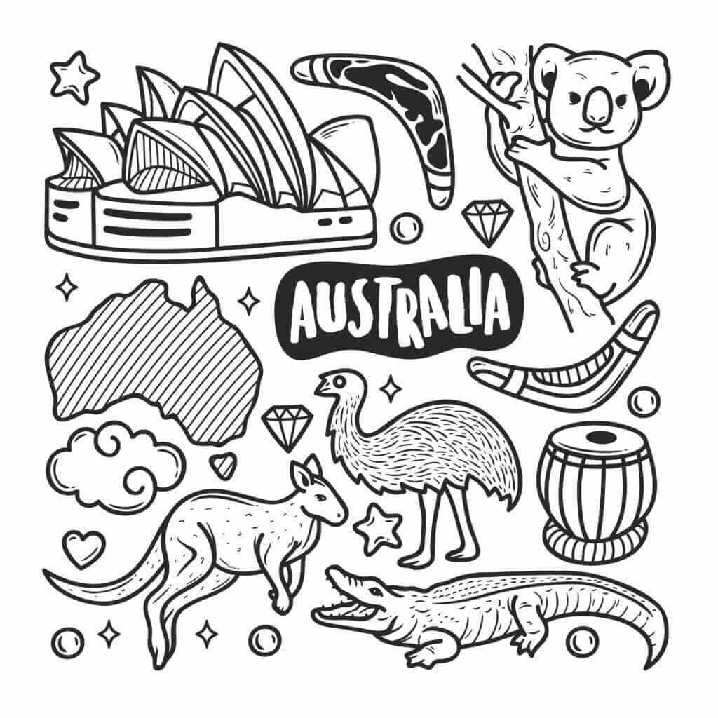 Omalovánka Austrálie