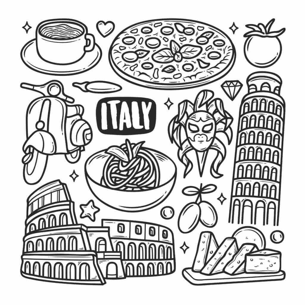 Omalovánka Itálie