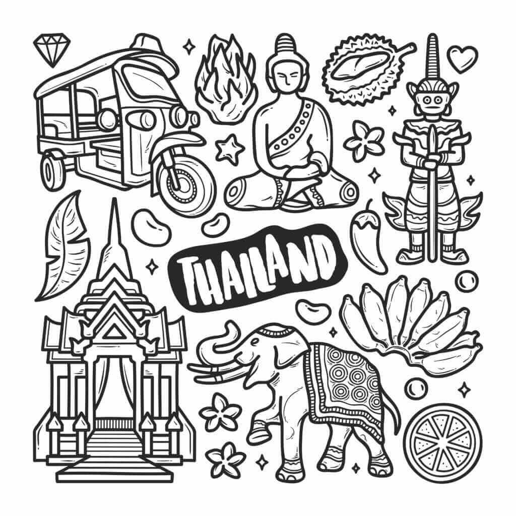 Omalovánka Thajsko