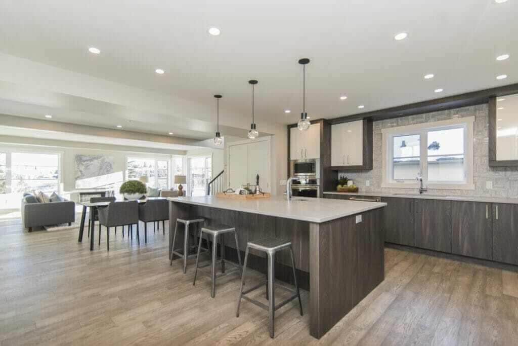 beautiful shot modern house kitchen dining room