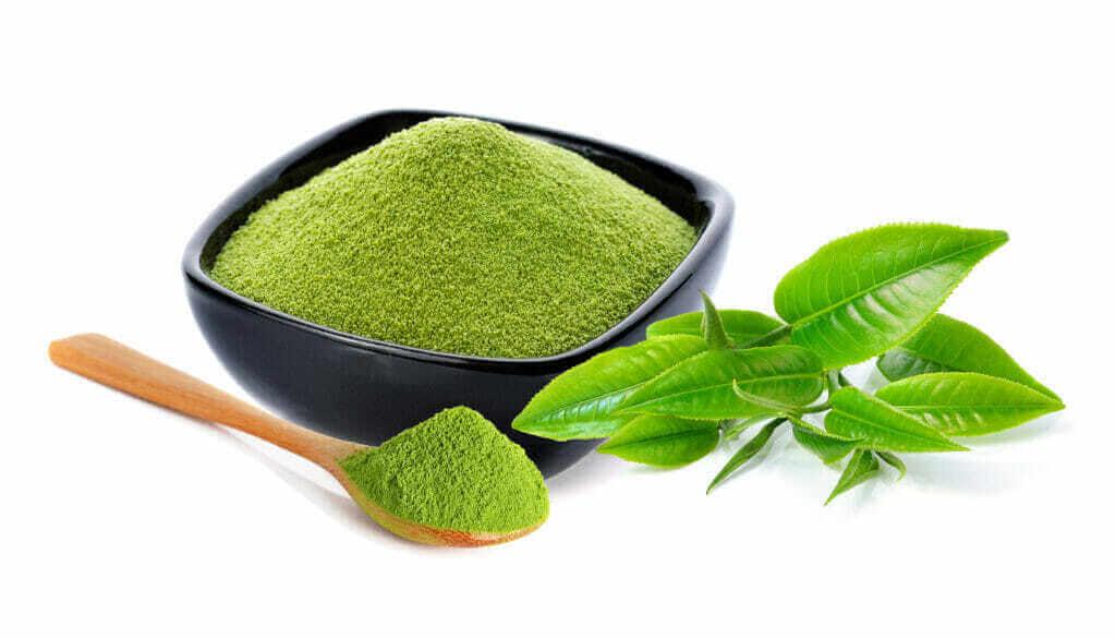 powder green tea green tea leaf isolated white
