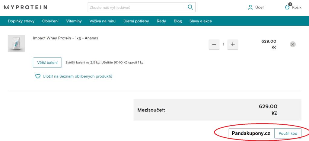 Kde zadat slevový kód MyProtein